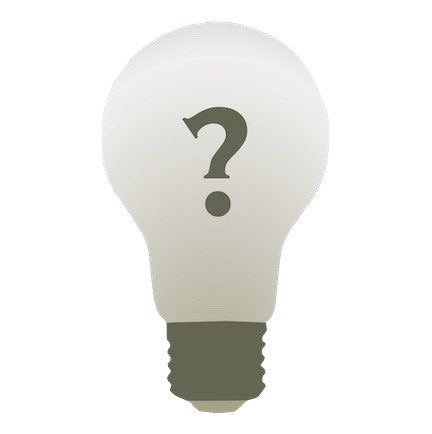 Lightbulb with question mark inside, representing questions and answers